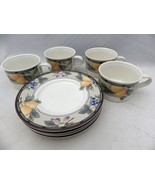 Mikasa Intaglio Garden Harvest CAC29 - Set/lot of 4 Coffee Cups & Saucer... - $24.75