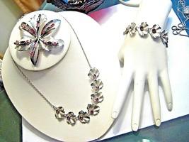 Vintage Sterling Silver Purple Rhinestones Necklace Bracelet Brooch by B... - $80.32