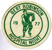 Vintage Sports Patch Hockey Bert Robinson Hospital Night 1977 - $9.49