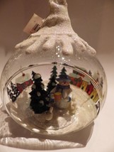 Clear Glass Globe Christmas Ornament Snowman Belk Home Accents Snow Painted - $21.78