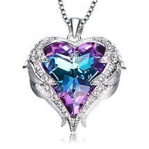 Women Necklace Valentines Day Gift For Her Heart Pendant Crystal Purple ... - $45.52