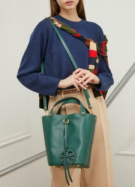NWT Tory Burch Malachite Green Miller Bucket Tote image 12