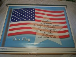 Nystrom 1FSC Pull Down Map W/Bracket Our Flag & Symbols Or Our Country M... - $60.00
