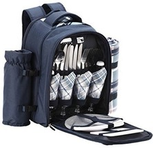 4 Person Blue Tartan Picnic Backpack Cooler Compartment Detachable Bottl... - $74.67