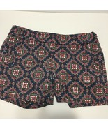 "J Crew Factory 5"" Printed Stretch Chino Shorts Sz 2 purple pink Geometri... - $14.03"