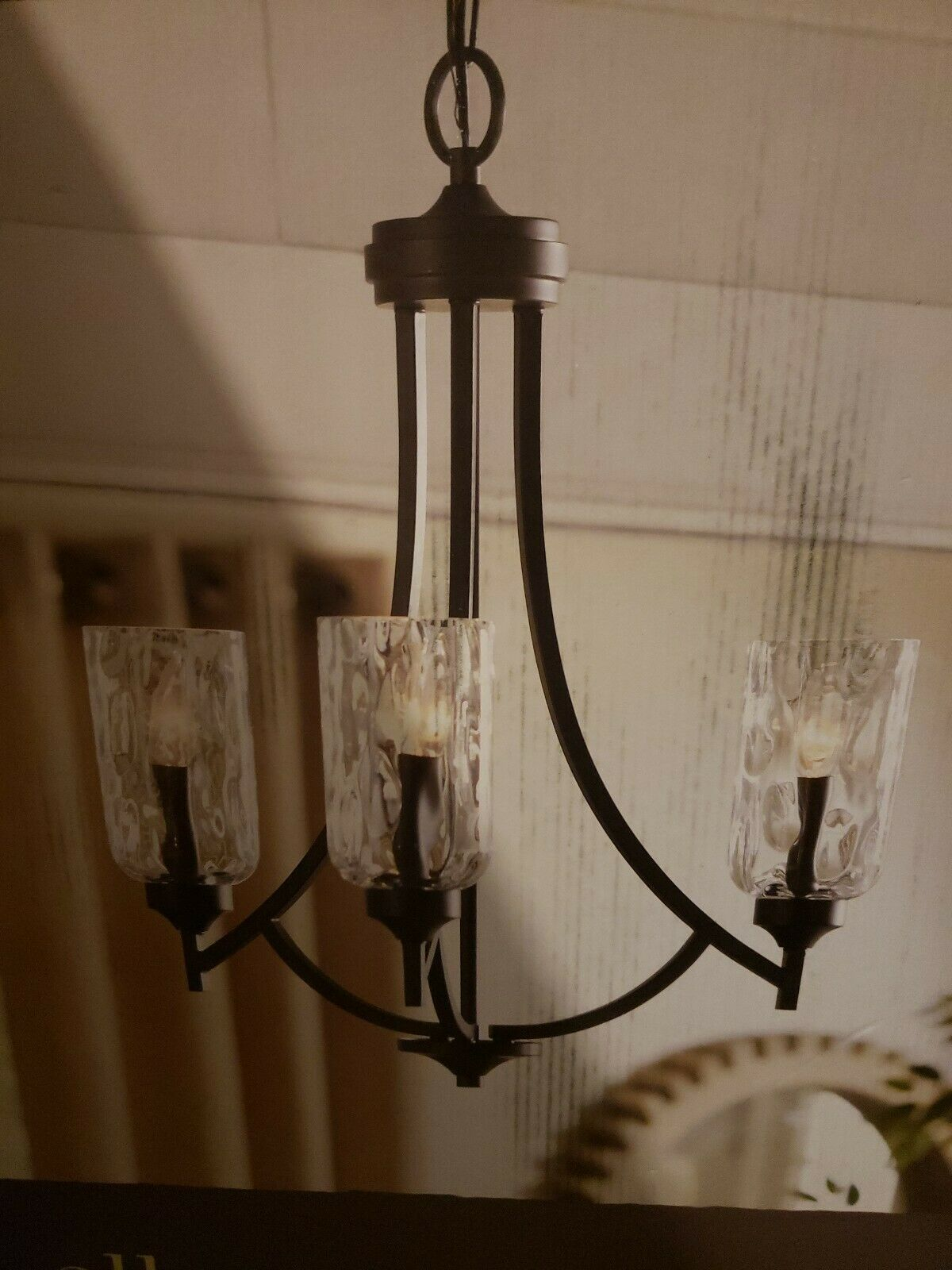 "Primary image for 3 Light Aged Bronze  Glass Chandelier 22"" Dining fixture Missing One Shade"