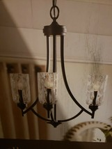 "3 Light Aged Bronze  Glass Chandelier 22"" Dining fixture Missing One Shade - $98.99"