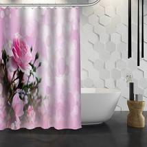 Hot Sale Custom Pink Flower Custom Shower Curtain Waterproof Fabric Bath Curtain - $43.99