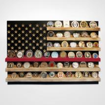 FIRE FIREFIGHTER RWB USA FLAG CHALLENGE COIN WOOD  DISPLAY STAND RACK - $189.99
