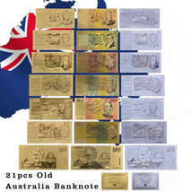 WR 21pcs Australia Gold Silver Banknote Old AUD 1 2 5 10 20 50 100 Bankn... - $23.39