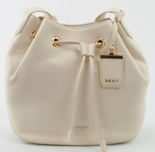 DKNY Donna Karan Sand Dollar Cream Leather Drawstring Shoulder Bag - $244.99