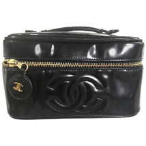 Vintage CHANEL patent enamel cosmetic and toiletry black pouch purse wit... - $392.00