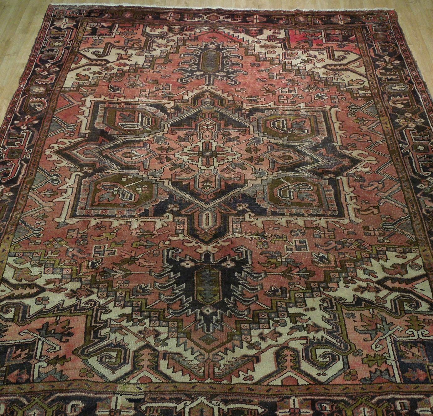 8x11 Red Heriz Wool Handmade Rust Worn-out Antique over 100 y o Persian Rug image 9