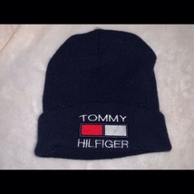 Vintage Tommy Hilfiger Sport Knit Cuffed Toque Hat Flag Spell Out Logo B... - $34.99