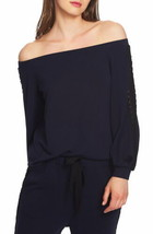 1.State Lace-Trim Off-The-Shoulder Top (Blue, M) - $45.42