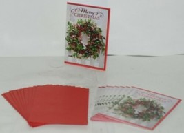 Hallmark X7824 Wreath Merry Christmas Card Red Envelope Package 10 image 1
