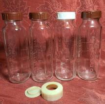 Four Vintage Evenflo Glass Baby Bottles - 8 Ounces With Plastic Caps  image 2