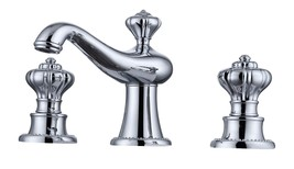 Bathroom 3 Holes Widespread Lav Sink Faucet Tap Classic deck Mounted Chr... - $232.65