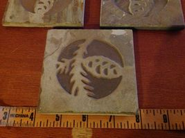 "Made in USA slate tile coaster engraved with pine cone  4"" square felt feet image 6"