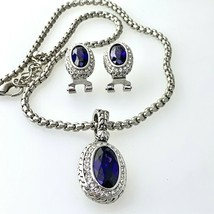 Amethyst Earrings & Pendant Necklace Fashion Set of Oval Crystal & CZ  - $39.59