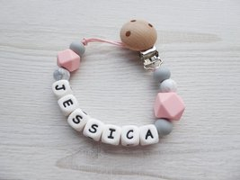 Personalized Pacifier Clip / Pacifier Holder / Dummy Chain - Rose Grey - $11.45