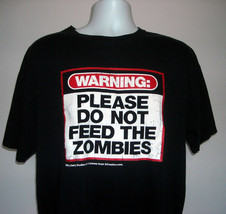 Warning Please Do Not Feed the Zombies T Shirt Mens XL Distressed Logo C... - $21.73