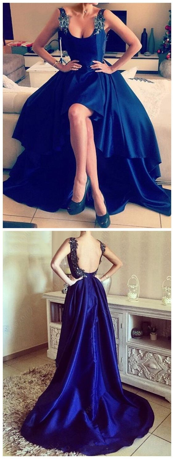 A line scoop neck satin asymmetrical appliques lace high low backless prom dress