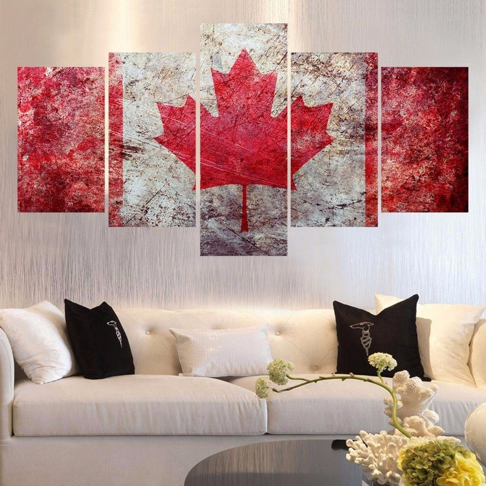 Large Framed/Unframed Rustic Canadian Flag Canvas Wall Art