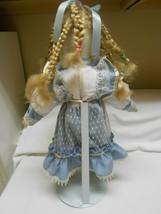 Vintage Porcelain Doll w/ glass eyes blonde pigtails Bloomers & adjustab... - $17.82