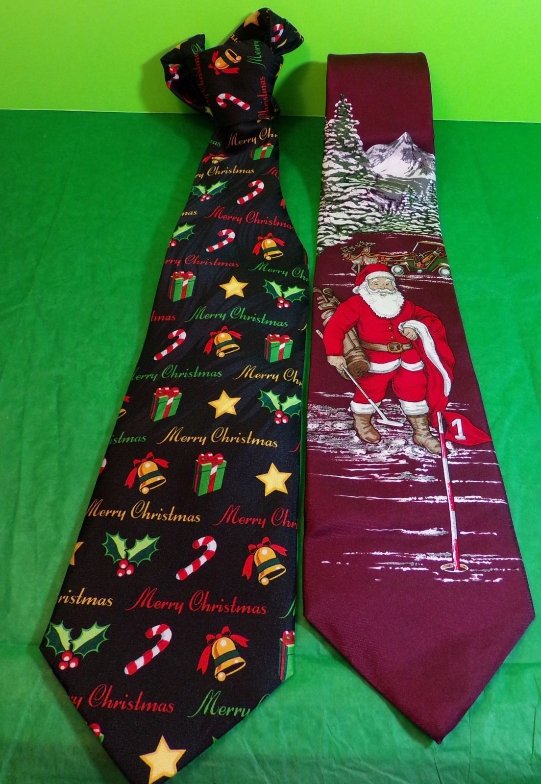 Primary image for Christmas Holiday Neckties Santa Claus Merry Christmas Golf Gift