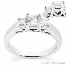 Forever ONE DEF Square Cut Moissanite 3-Stone Engagement Ring in 14k Whi... - £551.10 GBP+