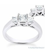 Forever ONE DEF Square Cut Moissanite 3-Stone Engagement Ring in 14k Whi... - €687,37 EUR+