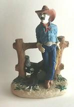 "VTG Cowboy Saddle Leaning Against Fence Statue Sculpture Figurine 10""X7""X4"" - $23.52"