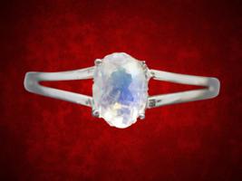 Prong Set Solitaire Moonstone Split Shank Ring - $275.00