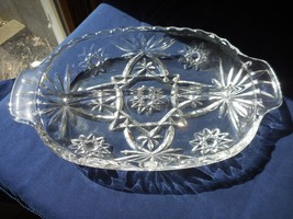 Anchor Hocking Early American Prescut Divided 2 part Relish Glass Dish Star Fan - $6.99
