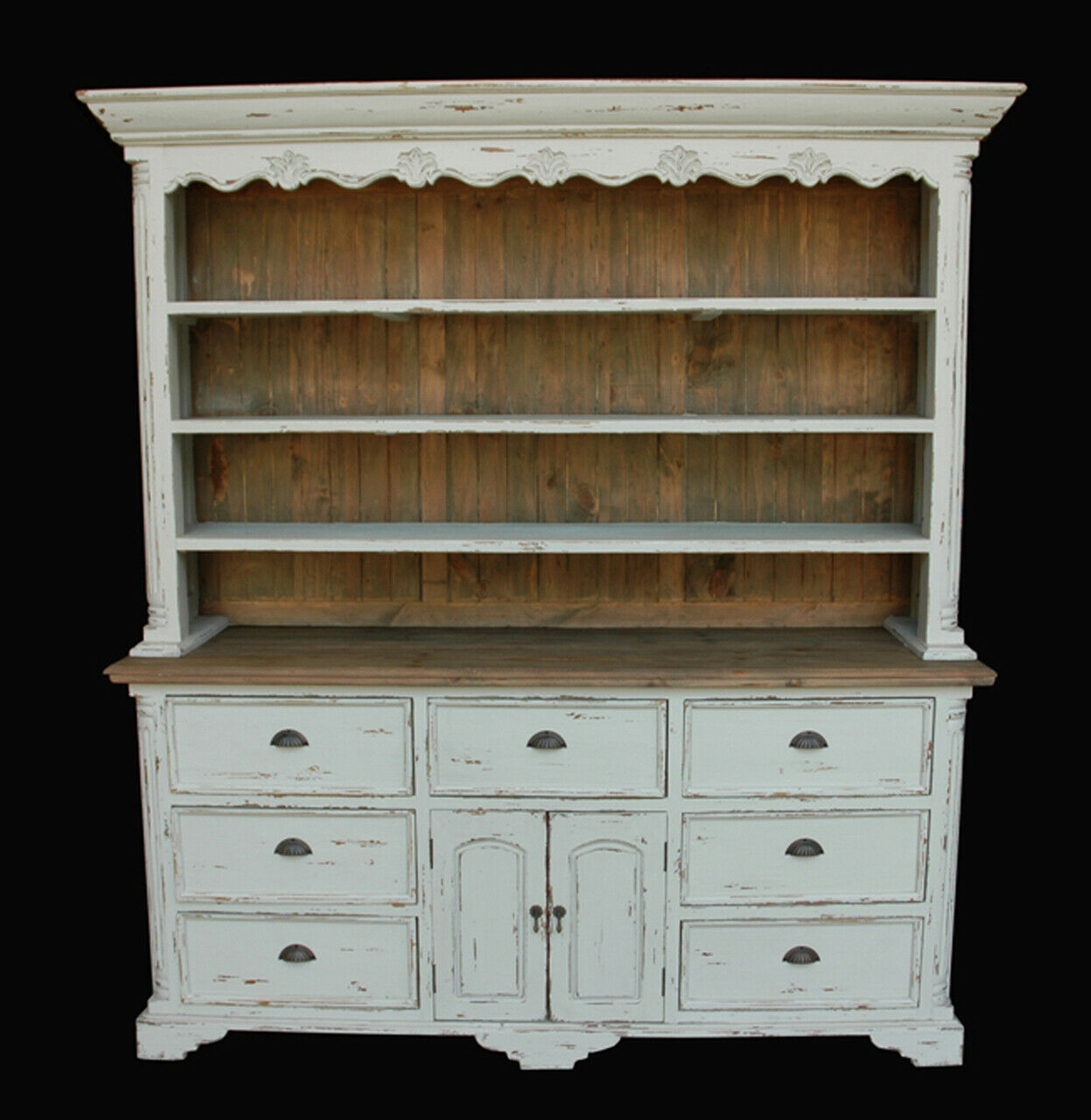 Farmhouse Buffet and Hutch Distressed White Natural Wood ...