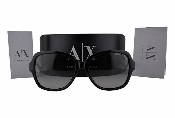 Armani Exchange Woman Sunglasses AX4029 800411 Black Butterfly 57mm Authentic