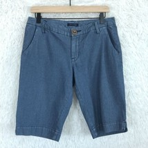Tommy Hilfiger Bermuda Shorts Blue Striped Mid Rise Casual Cotton Womens... - $16.82