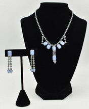 Light Blue Crystal Rhinestone Moon Glow Cabochon Necklace Earrings Set Vintage - $39.56