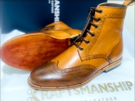 Handmade Men's Brown High Ankle Lace Up Wing Tip Leather Boot image 6
