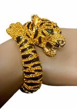 Designer Inspired Tiger Enamel & Rhinestones Animal-Themed Statement Bracelet - $37.95