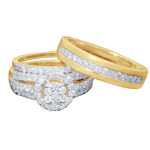 4 Ct Diamond 14k Yellow Gold Fn 925 Engagement Wedding His & Hers Trio R... - $110.00