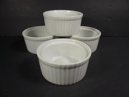 """Set of 4 White Ramekins Souffle Dishes Stackable Bakeware 1 3/4"""" x 3 3/4"""" - ₨1,089.47 INR"""