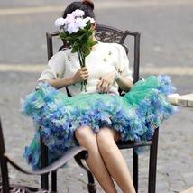 Women Above Knee Ruffle Layered Tulle Skirt Princess Plus Size Tiered Tutu Skirt image 2