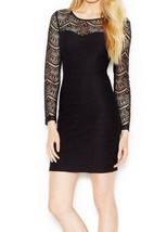 Guess Sexy Bodycon Textured Dress with Lace Sleeves BLACK 8 - $27.71