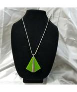 Celebrity Signed Retro Geometric Green Silver Tone Triangle Pendant Chai... - $24.74