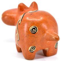SMOLArt Hand Carved Soapstone Orange Hippopotamus Hippo Figurine Made in Kenya image 3