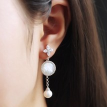 BNIB AUTHENTIC APM MONACO Asymmetric Eternelle Dropping Earrings With Pearl  image 4