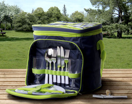 Insulated Picnic Basket Set - Lunch Tote Backpack Cooler w/ Utensils and... - $28.93