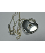 "Vintage Tiffany &Co Round Silver Emblem Padlock Lock Chain Necklace 16"" - $179.69"